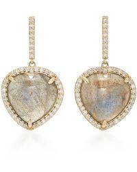 Sheryl Lowe 14k Gold, Diamond And Labradorite Earrings - Metallic