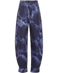 Tibi Sculpted Tie-dye Rubberized Trousers - Blue