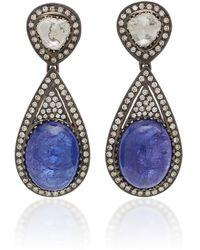Amrapali 18k Gold Tanzanite And Diamond Earrings - Blue