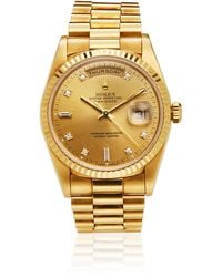 Rolex Silver 18k Yellow Gold Diamond President 69138 Women's Wristwatch 26mm - Metallic