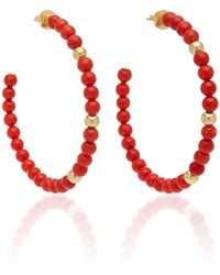 Faraone Mennella - One-of-a-kind Barbarella Large Coral Hoops - Lyst