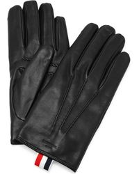 Thom Browne Cashmere-lined Leather Gloves - Black