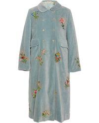 Péro Embroidered Velvet Coat - Blue
