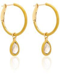 Nina Runsdorf The Artist Mustard Enamel Mini Hoop Earrings - Yellow