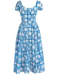 Alix Of Bohemia Muse Floral Cotton Dress - Blue