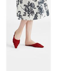 Brock Collection Grosgrain Leather Slippers - Red