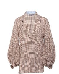 Lela Rose - Double-breasted Blouson-sleeve Wool Top - Lyst