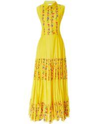 Carolina K - Nia Pleated Floral Cotton-blend Maxi Dress - Lyst