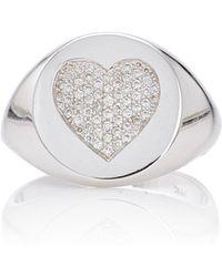 Emily & Ashley   White Gold Diamond Heart Signet Pinky Ring   Lyst