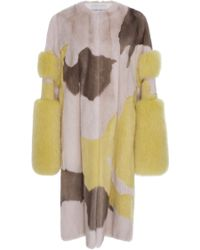 Prabal Gurung Cuff Sleeve Mink And Fox Fur Coat - Multicolor