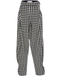 Wanda Nylon Houndstooth Check Harem Pants - Black