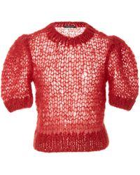 Jill Stuart Kamila Mohair Cropped Knit - Red
