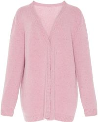 Luisa Beccaria Long Sleeve Knit Cardigan - Pink