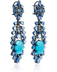 Sutra - Turquoise And Sapphire Drop Earrings - Lyst