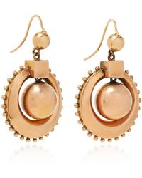 Fred Leighton - Antique 14k Rose Gold Hollowform Circlet Ball Pendant Earrings - Lyst