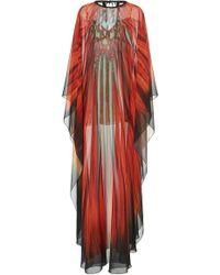 Elie Saab Printed Full Length Caftan - Red