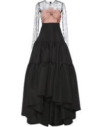 Reem Acra | Faille Gown With Tiered Skirt | Lyst
