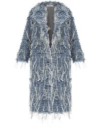 Ksenia Schnaider | Long Denim Fur Coat | Lyst