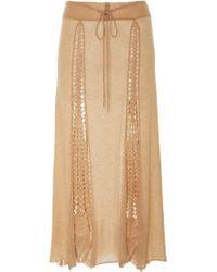 Ryan Roche | Drawstring Skirt With Crochet Inserts | Lyst
