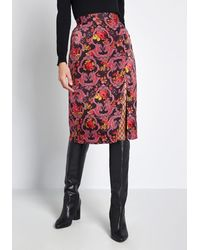 ModCloth Got My Attention Satin A-line Skirt - Purple