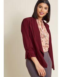 ModCloth - Marketing Maven Blazer In Burgundy - Lyst