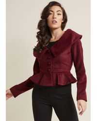 Collectif - Cropped Jacket With Retro Peplum - Lyst