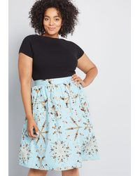 ModCloth X Dupenny Charming Cotton Skirt With Pockets - Blue