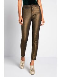 ModCloth The Hollywood Metallic Denim Pants