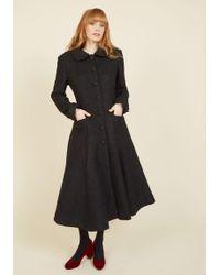 Collectif Clothing - Elegance Of The Era Coat In Noir - Lyst
