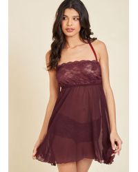 Shark Tm - Live And Allure Nightgown And Panties Set In Maroon - Lyst