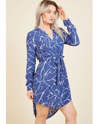 Sunny Girl Pty Lltd - Do You Coffee? Shirt Dress In Blue Marble - Lyst