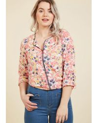 ModCloth - Podcast Co-host Long Sleeve Top In Floral Burst - Lyst