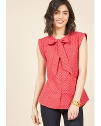 Mata Traders - Willow The Wisp Button-up Top In Dotted Red - Lyst