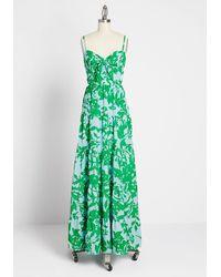 Eliza J Sunny Resort Floral Maxi Cotton Dress - Blue