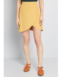 ModCloth Tempted By Tulips Mini Skirt - Yellow