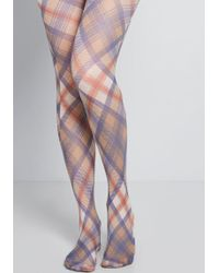 b785164bbcaf3 ModCloth - Best Swishes Plaid Tights - Size Os - Lyst