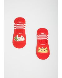 Sock It To Me Taco 'bout Cats No-show Socks - Red