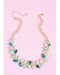 ModCloth - Harmonious Harvest Statement Necklace In Mint - Lyst