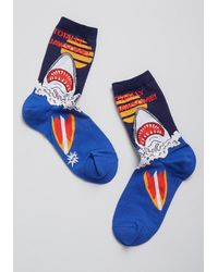Sock It To Me Totally Jawsome Socks - Size Os By From Modcloth - Blue