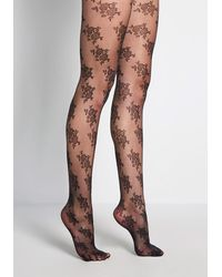 ModCloth Blossoming Ensemble Floral Tights - Black