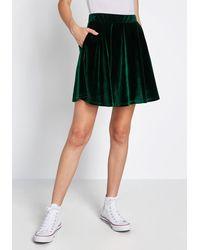ModCloth Just This Sway Velvet Skater Skirt - Green