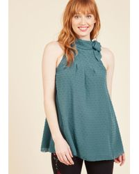 ModCloth | Diligent Distinction Sleeveless Top In Teal | Lyst