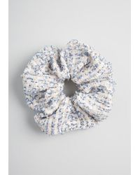 ModCloth Elevated Updo Tweed Scrunchie - Classic - Blue