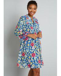 Hutch Summer Fruit Tart Babydoll Dress - Blue