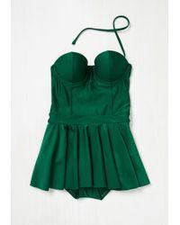 Bettie Page All Is Flare In Love Swim Dress In Emerald - Green