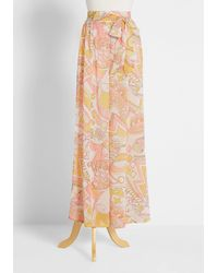 ModCloth Proven Groovy Chiffon Wide-leg Pants - Pink
