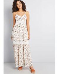 Jack BB Dakota Savored Rays Floral Maxi Dress - White