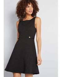 ModCloth Sixties Signature A-line Cotton Dress - Black