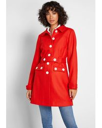 ModCloth Count Me In Wool-blend Car Coat - Red