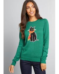 ModCloth - Oscar The One-eyed Cat Sweater - Lyst